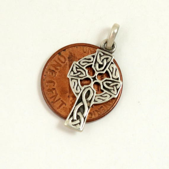 Vintage Celtic Cross Pendant, 925 Sterling Silver