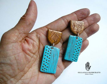 Copper and Blue Textured Earrings