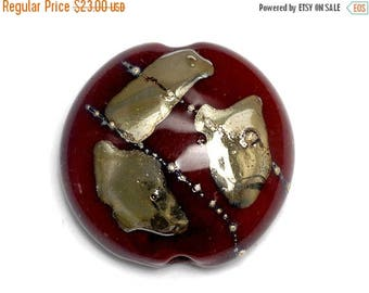 ON SALE 35% OFF Regal Red Metallic Lentil Focal Bead - Silver - Handmade Glass Lampwork Bead 11818302