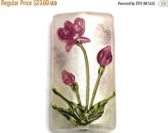 ON SALE 35% OFF Glass Lampwork Bead - Fuchsia Flower Kalera Focal Bead 11832003