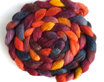 Polwarth/Silk 60/40 Roving - Handpainted Spinning or Felting Fiber, Sloss Furnace