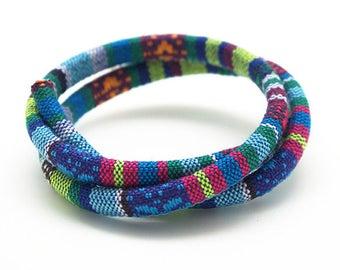 50cm 6.5 mm multicolor blue woven ethnic cotton cord