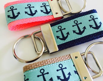 Mint Anchor Keychain, Keyfob, Mint and Navy Anchor Ribbon, Keychain, Navy Anchor Ribbon Beach Key Fob, Chapsrick Holder, Mint Gift , Anchor