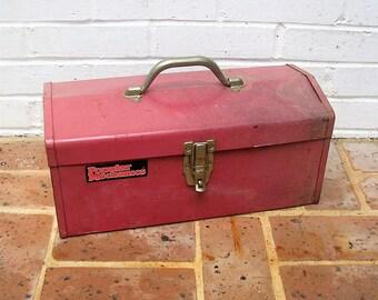 Vintage Metal Tool Box Vintage Metal Tackle Box Vintage Industrial Box Storage Box