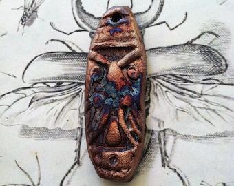 198. Wondrousstrange  Raku Tribal Large Blue Copper Pendant