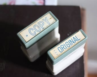 """Vintage Industrial Office Stamps """"Copy"""" and """"Original"""""""