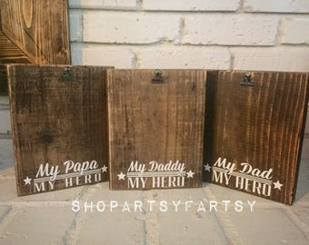 Father's Day picture frame stained photo block with My Dad, My Hero holds up to 5X7 pictures