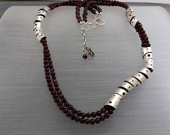 Sterling Silver Necklace - Garnet - Modern -  Handmade - One of a Kind - Fine Jewelry