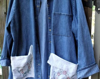 Denim Jacket-Smock-Tunic/ Fall '17/ Vintage Embroidery/ Hand Crochet Trim/ Upfashioned 2-3X Oversize Jacket/ Sheerfab Thrifted Denim Funwear