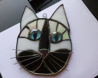Cat Face Stained Glass  in Beautiful Tuxedo black and white Blue eyes