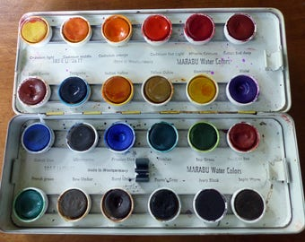 Vintage Marabu Watercolor Paints and Tin - 24 Colors West Germany