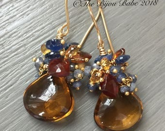 Whiskey Quartz Cluster Earrings Gemstone Cluster Earrings