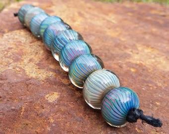 Terra Stripes Lampwork Glass Beads Set
