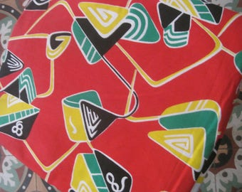 Vintage Abstract Fabric, 1960s Fabric, Vintage Fabric, Mid Century Fabric, Vintage French Textile, Mod Fabric, Fabric & Notions, Fabric #2