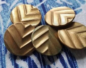Vintage Button-5 matching 7/8 inch Victorian, bronze chevron pattern metal design (July 371 17)