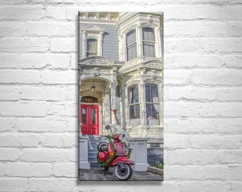 San Francisco, Vespa Picture, Motor Scooter, Ready to Hang, Pastel, Architecture Art, Canvas Print, Art on Canvas, Victorian, Birthday Gift