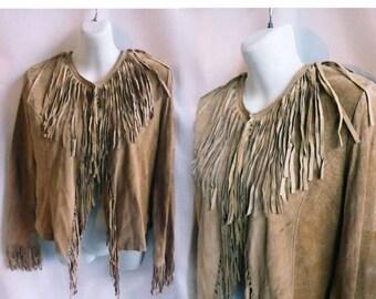 Vintage 70s 80s Suede Fringe Jacket Size M Tan Hippie Boho Tribal Buckskin