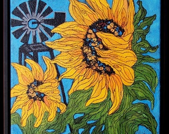 """Original Sunflowers with windmill  painting 12""""x12"""" framed, bright yellow,canvas, farm"""