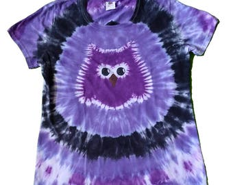 Owl Shirt in Purple, Lavender and Black with a Purple Tie Dye Owl- Womens size XL and READY to SHIP-Womens Tie Dye Shirt