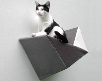 Geometric bed cat wall shelf in grey, white and charcoal