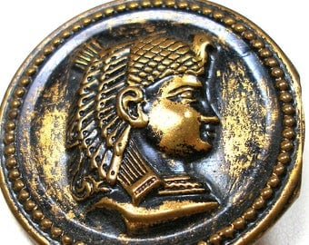 XL King Tut button, Egyptian Revival with Pharaoh kings profile. 1.5 inch.
