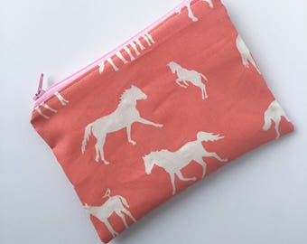 Horse Snack Bag - Zippered Snack Bag - Pony Snack Bag - Kids Snack Bag - Lunch Pouch - Lunch Bag - Back to School - Horse Lover - Pony