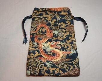 Orange Dragon - Lined Drawstring Tarot Card Deck Pouch