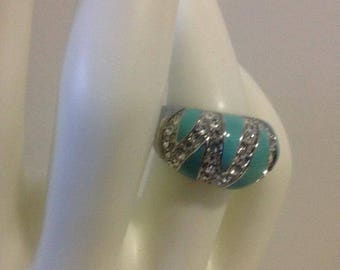 1990s Vintage Silver Plated Sparkly Blue Statement Ring Size 6.5