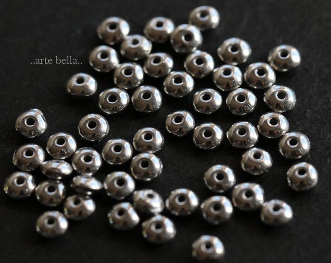 SILVERED METALLIC BITS .. New 50 Premium Czech Glass Rondelle Beads 2x3mm (6145-50)
