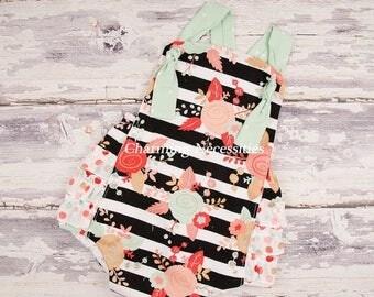 SALE Baby Girl Clothes, Toddler Girl Clothes, Sunsuit Bubble Romper with Ruffles Spring Summer Easter Avant Garde Trendy Modern Baby Clothes