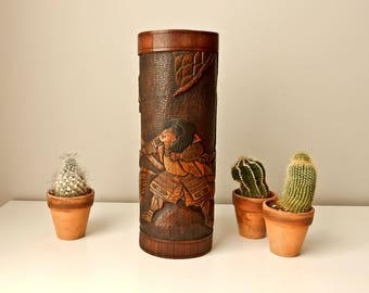 Vintage Japanese Brush Pot, 13 1/4'  Bamboo Vase, 2 Samurai, Asian Carved Vase, Bamboo Brush Holder