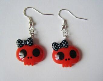 Earrings - skulls - Red