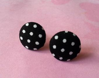 Round fabric earrings ♥ ♥ black polka dots ♥