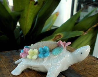 Capodimonte Porcelain Turtle Pincushion / White Turtle Pink Blue Yellow Flowers / Antique Sewing Display