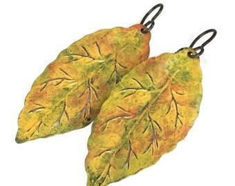 SALE Hand Painted Autumn Leaf Earrings
