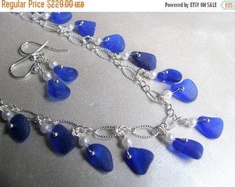 SEA GLASS SALE Very Rare Sea Glass Necklace - Cobalt Blue Necklace - Sea Glass Jewelry - Ocean Jewelry Sea Glass Gift Set - Jewelry Set