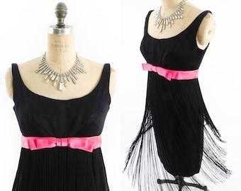 Vintage Fringe Dress // Babydoll Dress // 1970s Dress // 70s Dress // Little Black Dress // Empire Waist Dress - sz S
