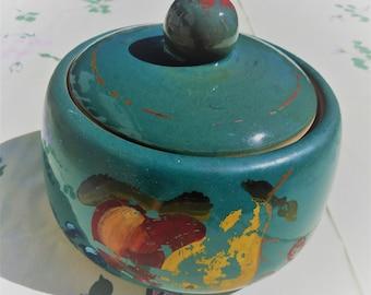Heavy Vintage Covered Crock, Teal Blue or Green, Painted Fruit Design, Bean Pot, Cookie Jar