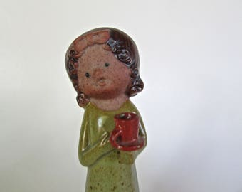 UTCTI Japan Imports Stoneware Flower Girl Moppet Figurine, Statuesque, Elegant Porportions, San Francisco Imports 1970s