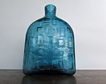 Vimax Empoli Brutalist Aqua-Blue Mid-Century Italian Pressed-Glass Bottle/Decanter