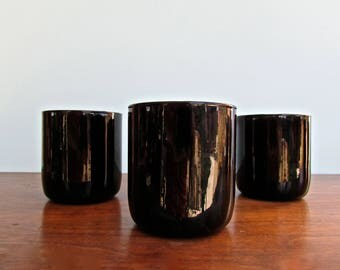 Vintage Metropolitan Black Libbey Glass Company, Trio of Black Glass Short-Tumblers