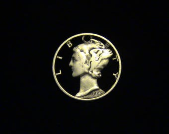 Mercury Dime - cut coin pendant - 1945 - Mercury, Ancient Roman Messenger God - SILVER