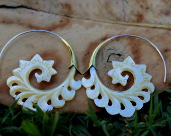Fake Gauge Earrings Gold Shell & Mother Of Pearl Earrings - Hand Carved Tribal Organic Fake Piercings