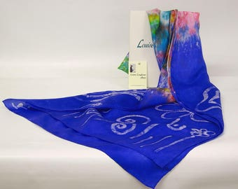 Large Silk Shawl violet butterfly