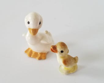 Vintage Miniature Porcelain Duck and Duckling Set of 2