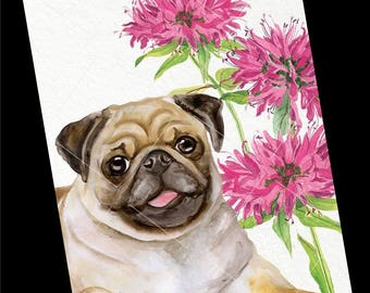 Dog Greeting Card-All Occasion-Pug Watercolor