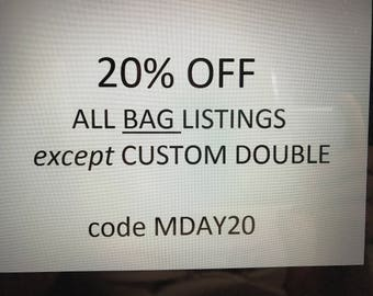 All bag listings except double  use this code at checkout