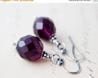 Summer Sale Amethyst Glass Earrings, Glass Earrings, Dangle Earrings, Purple Glass, Czech Glass, February Birthstone, Sterling Silver, Drop