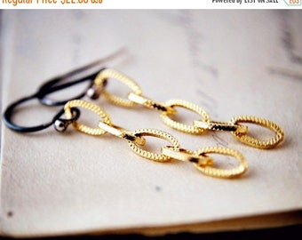 Summer Sale Chain Earrings Two Tone Gold Sterling Silver Dangle