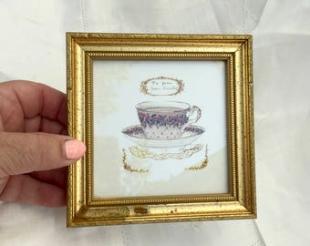 Gold Framed Picture teacup print of antique tea cup te pora bien dormir